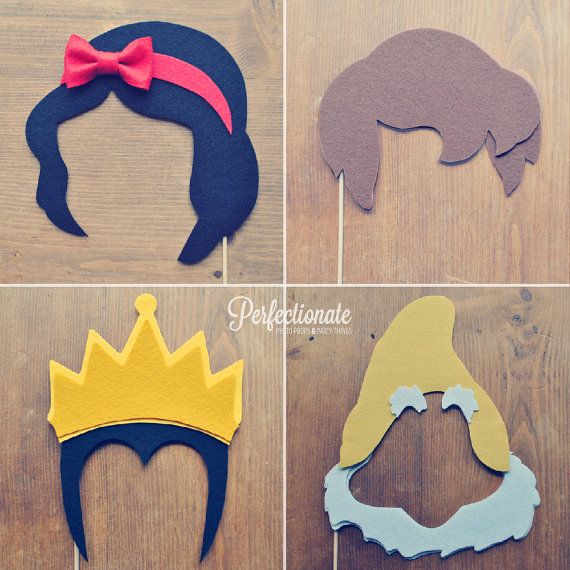 Snow White Photo Prop Set // Prince Charming // Disney Theme // Felt // Wedding Photo Booth Props via Etsy