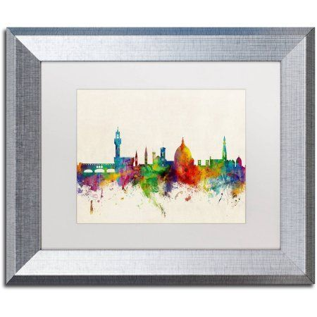 Trademark Fine Art Florence Italy Skyline Beige Canvas Art by Michael Tompsett, White Matte, Silver Frame, Size: 16 x 20, Multicolor
