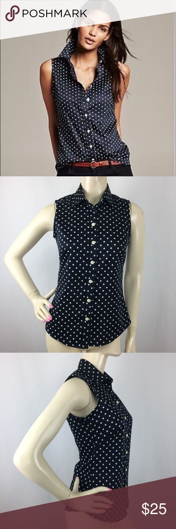 "Banana Republic Navy Polka Dot Non iron Shirt P 00 Gently used,no flaws. MATERIAL: 97%Cotton 3%Lycra-Spandex MEASUREMENTS: (Please note that the measurements are approximate) ALL MEASUREMENTS ARE TAKEN WITH GARMENT LYING FLAT: BUST: 16"" WAIST: 14.5"" LENGHT: 24"" Banana Republic Tops Button Down Shirts"