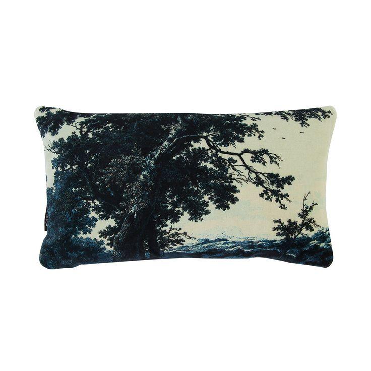Boho & Co - Trees Two Blue - Velvet Cushion - 40x22cm