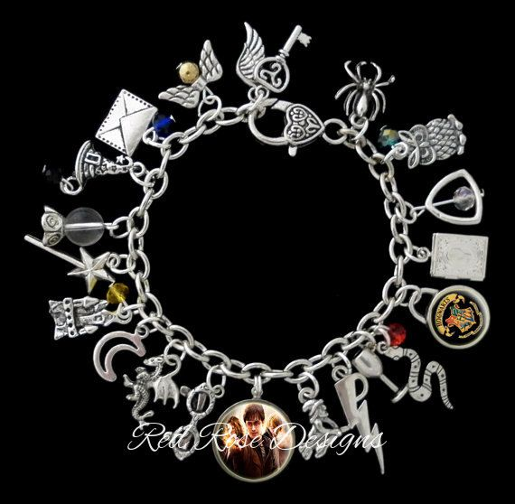 Harry Potter Themed Charm Bracelet Golden by RedRoseUniqueDesigns