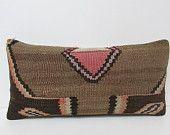 12x24 brown kilim pillow earthy throw pillow black decorative pillow sofa kilim rug pillow rustic bedroom pillow novelty throw pillow 24620