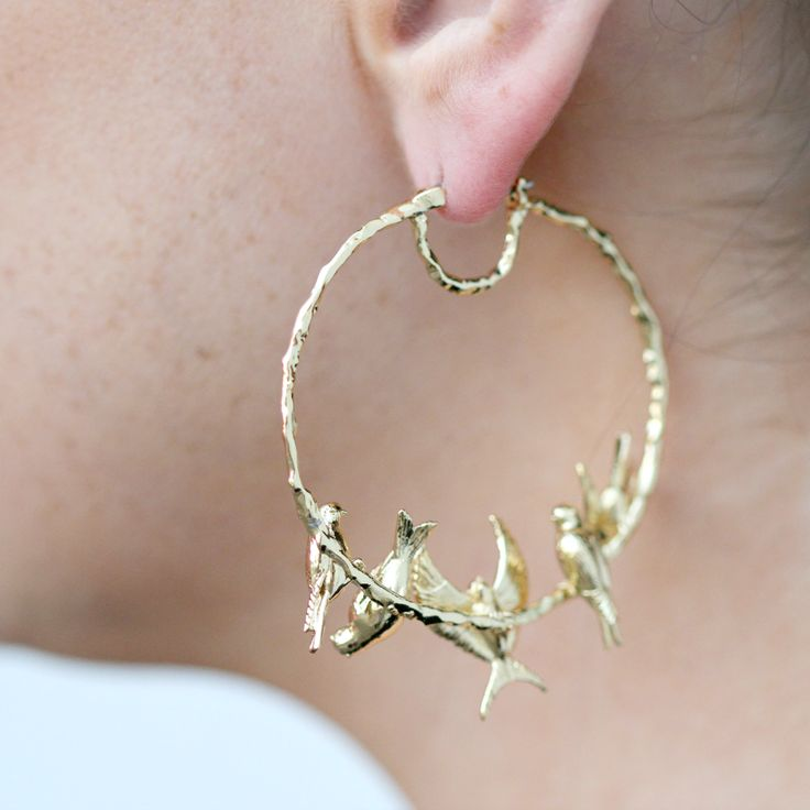 Melanie Hoops | Earrings | Birds | Handmade | Detail | Accessories | Gold | Avian | Les Nereides | Coco and Duckie | Artist Made | Essential | Everyday | Lovely | Whimsical | Wedding Jewelry | Jewellery | Made in France | Let In The Lovely