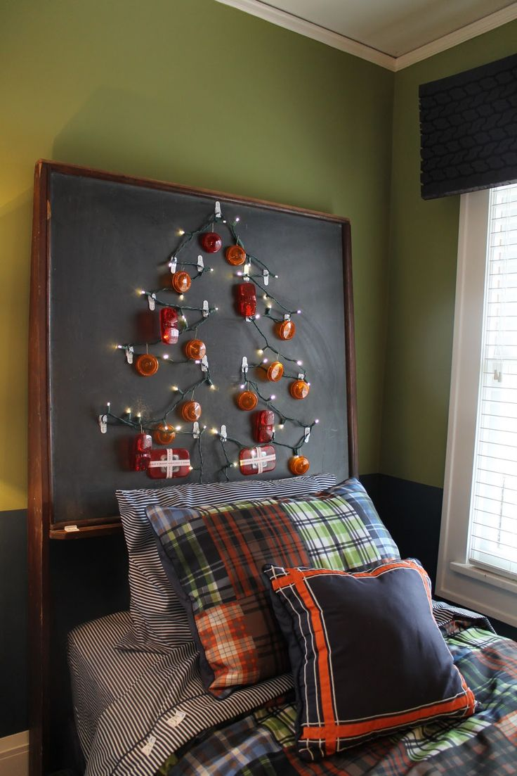 Sweet jojo designs construction zone lamp shade free shipping on - Headboard Made From A Vintage Schoolroom Chalkboard Decorated With Led Christmas Lights And Tail Light Cover Ornaments