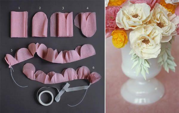 DIY Crepe Paper Flowers by http://afieldjournal.blogspot.com via thebridescafe via heylook:  #DIY #Flowers #thebridescafe #heylook #afieldjournal