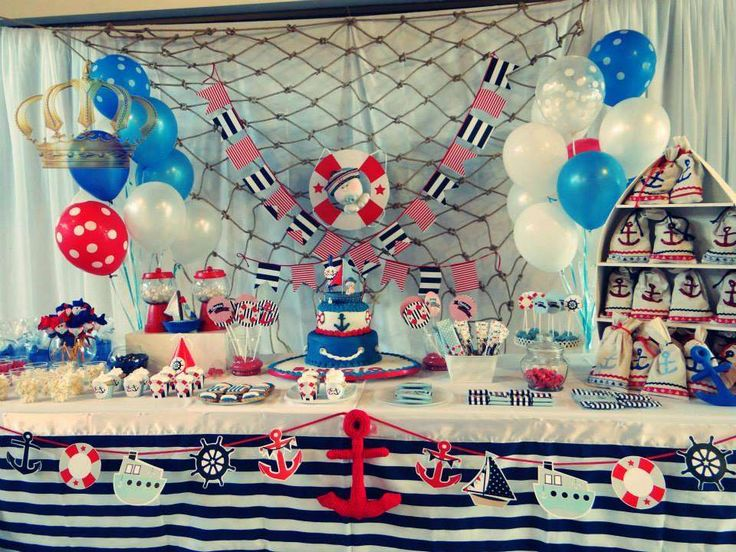 Nautical birthday party dessert table! See more party planning ideas at CatchMyParty.com!