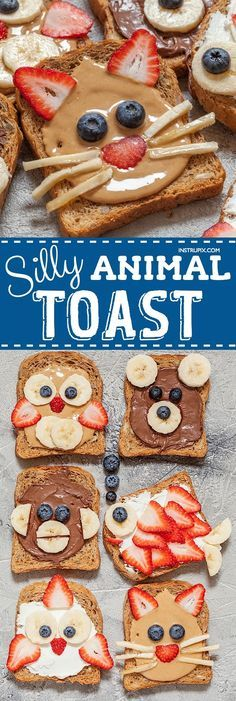 Ontbijt brood dieren. These easy breakfast and snack ideas for kids are super quick and healthy! Fun toast ideas that only require a handful of ingredients (bread, nut butters and fruit). Make them into silly animals or anything you can imagine.