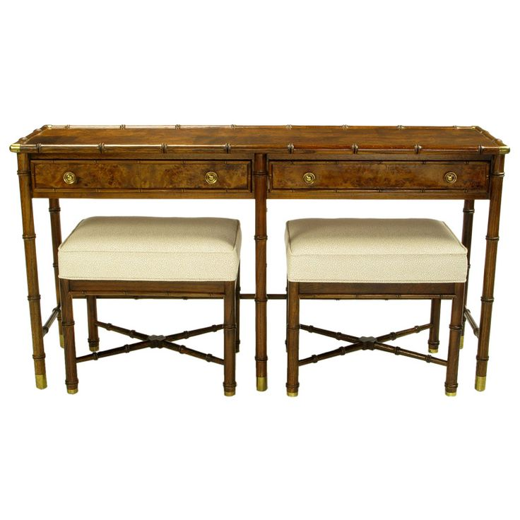 Hekman Burled Campaign Style Console With Matching Benches