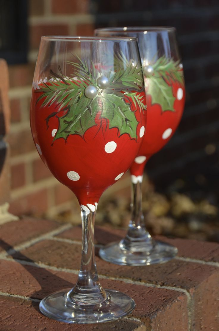 Holly and Crimson Polka Dot hand painted wine glass/Christmas glass https://www.facebook.com/pages/Cranial-BandsMurals-by-Leigh-Gibson/153150921414230