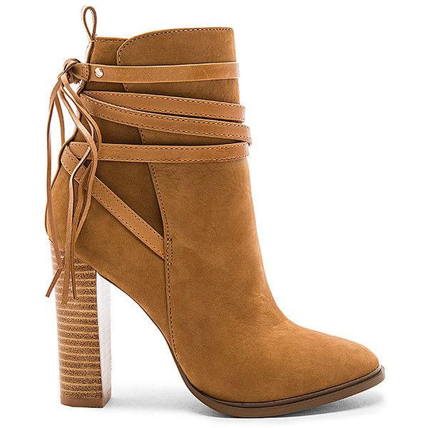 Steve Madden Gaybel Bootie (£120) ❤ liked on Polyvore featuring shoes, boots, ankle booties, booties, steve madden boots, fringe high heel boots, ankle boots, short boots and faux-fur boots