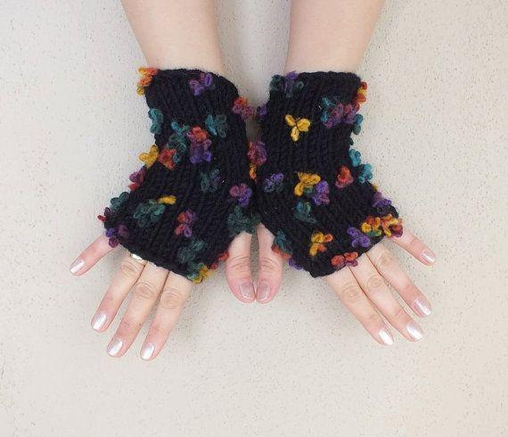 Fingerless gloves black knit gloves comfortable 3D flower by UKLA, $23.00