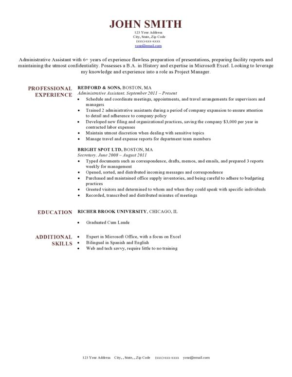 Best 25+ Standard resume format ideas on Pinterest Standard cv - ot assistant sample resume