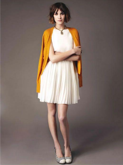 Alexa ChungFashion, Style, Alexachung, Alexa Chung, Little White Dresses, Mustard Yellow, Mustard Cardigans, Pleated Skirts, Church Outfit