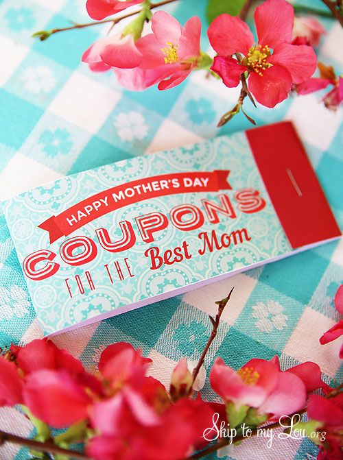 Free Printable Mothers Day Coupon Books! This DIY coupon book is super easy to assemble so you can give mom just what she needs for Mother's Day!  www.skiptomylou.org #printables #mothersday #DIYcouponbook