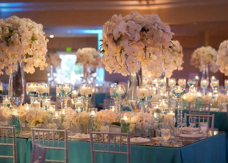 Wedding reception decoration examples wedding white for Turquoise gold wedding theme
