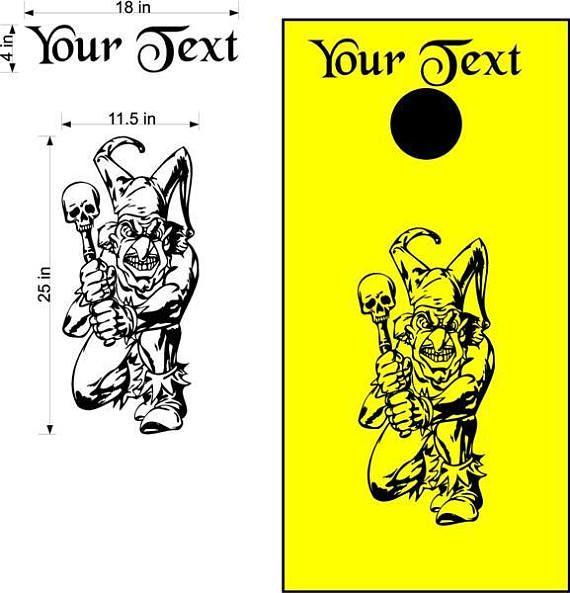 Custom Text Joker Skull Cornhole Board Decals Stickers Graphics Bean Bag Toss Backyard Tailgate Wedding Anniversary Games 2