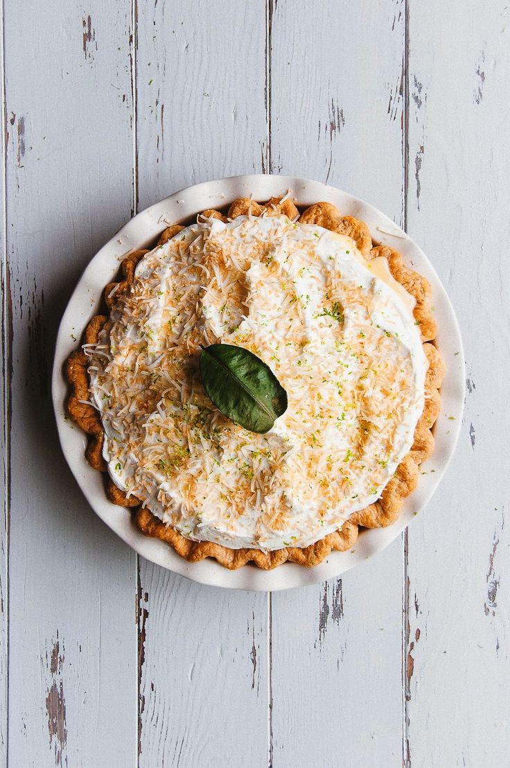 Coconut & Kaffir Lime Custard Pie via Hint of Vanilla #recipe