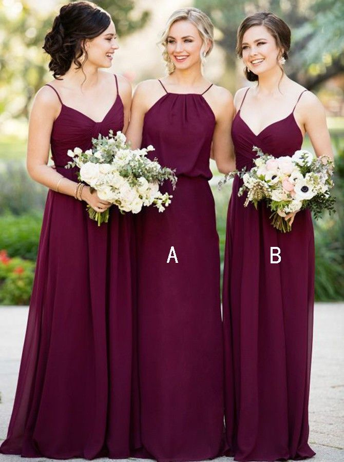 Elegant A-line Bridesmaid Dresses Chiffon Long Bridesmaid Dresses kmy512