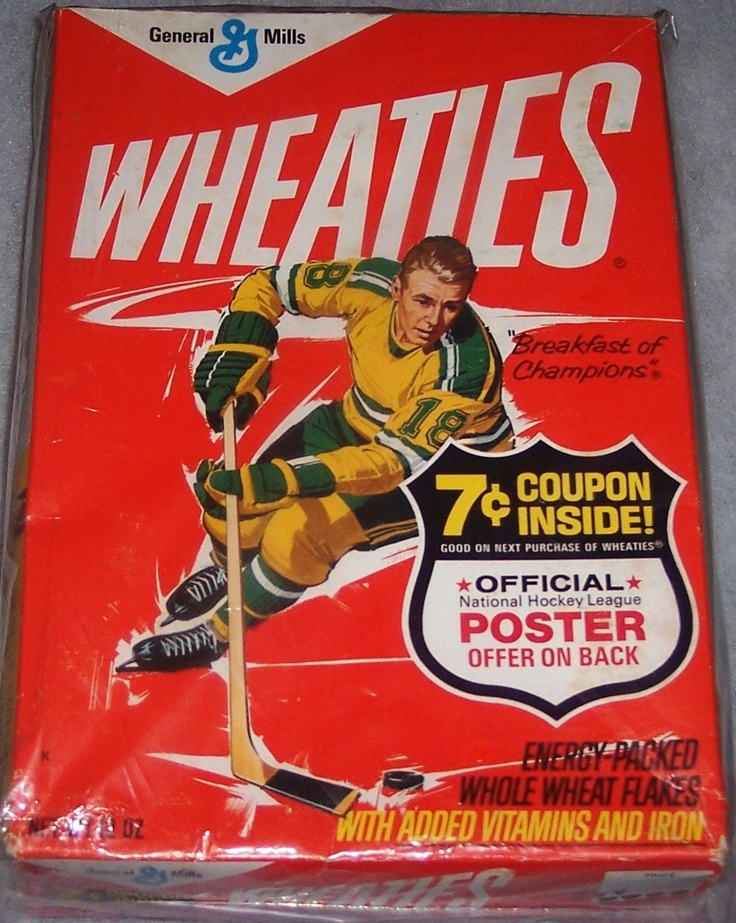 1972 Hockey Player (NHL Poster offer) WHEATIES Box
