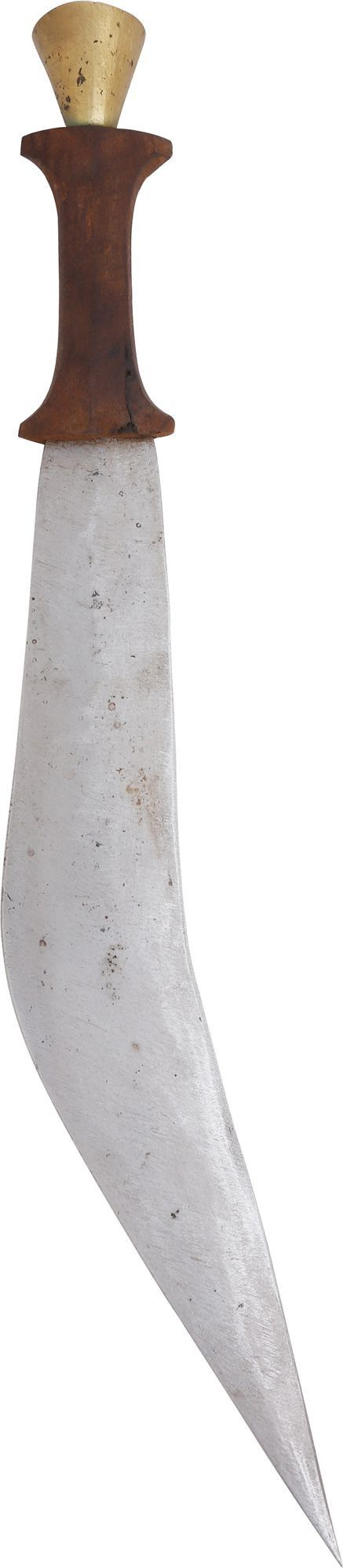 """DANKIL SWORD FROM DJIBOUTI Known as a gile or jile, and specifically associated with Djibouti. See Spring fig. 103 for a similar but plainer example. This example with 16 1/4"""" asymmetrical double edge blade said to be used for ham stringing. Carved wood hilt with expanded pommel and guard. Bronze..."""