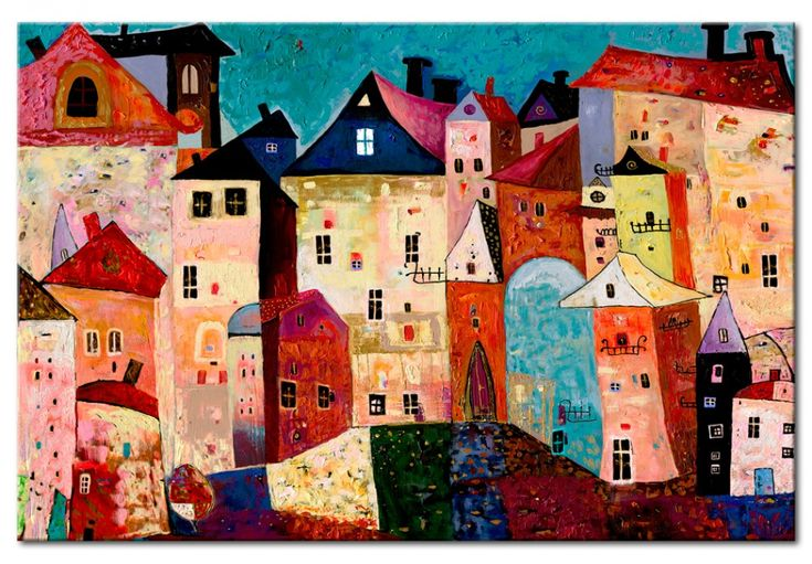 """Painting """"Artistic city"""" #canvasprints #painting #handpainted #city #house #colourful"""
