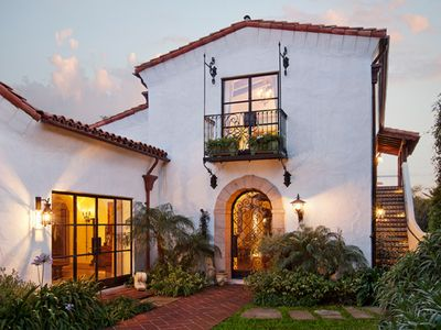 Santa Barbara property.  I like the multi-level, wrought iron, arches, terracotta tiles and white-wash.