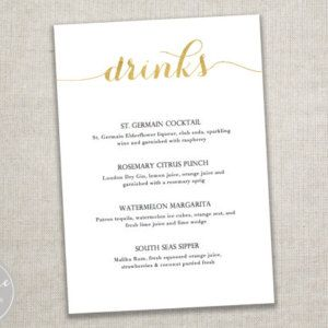 Printable Gold Script Drinks Menu / Instant Digital Download / 5x7 inches / Microsoft Word Editable / Wedding or dinner party / framable