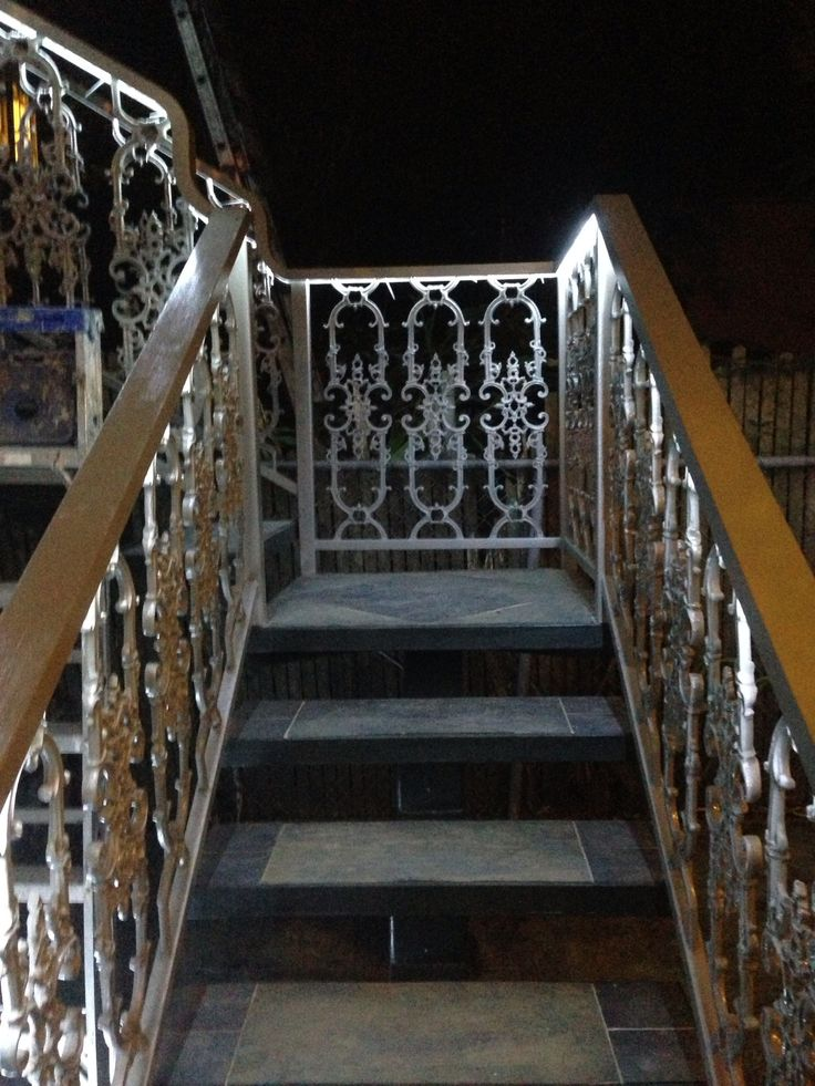 Wrought Iron Railing Slate Stairs Rope Lighting Under