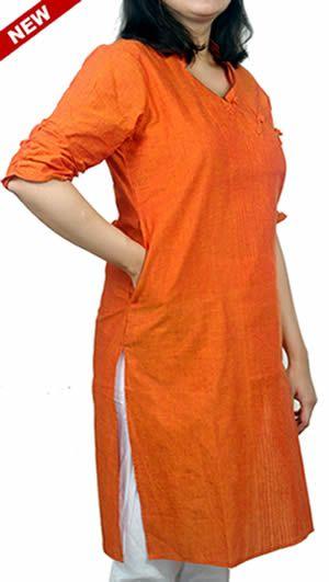 Women Corporate Kurtas, Women Corporate Wear, Womens Wear, Indian Concepts, Crisp Orange Side Loop-Knot Corporate Kurta