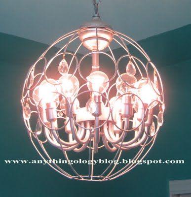 Made from hanging basketsHanging Lights, Lights Fixtures, Trav'Lin Lights, Diy Chandelier, Diy Lights, Metals Hanging, Planters Lights, Hanging Planters, Hanging Baskets