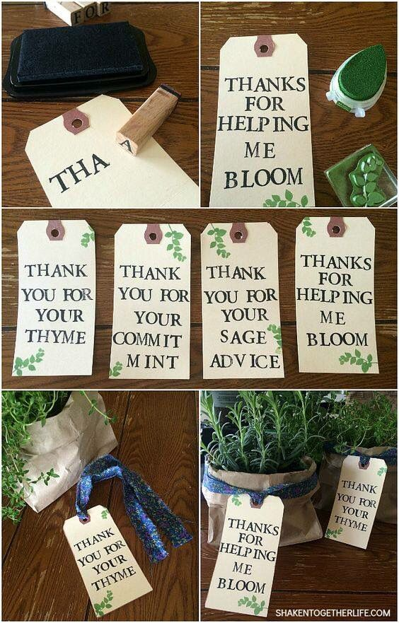Awesome little tags for herb planter gifts! Perfect idea for teacher appreciation gifts or housewarming idea