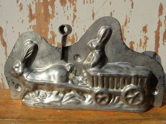 Whimsical Rabbit Wagon Chocolate Mold by SecondTakeVintage on Etsy, $140.00