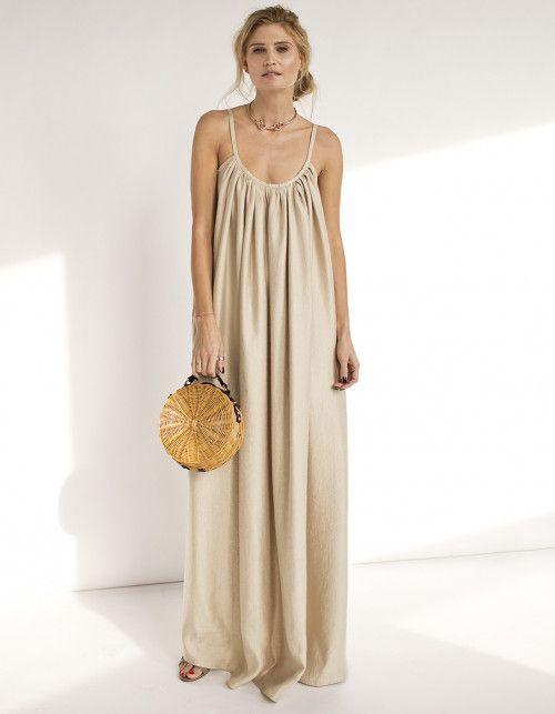 5a362bdffaa4 Maxikleid in goldenem Beige, luftiges kleid, Leinen, Sommeranlass,  Sommerlich