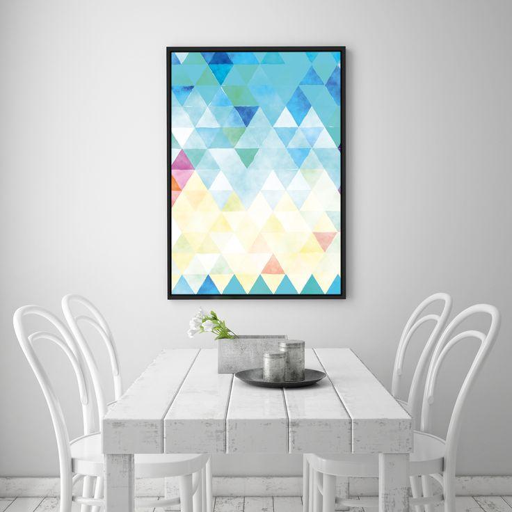 Triangle art blush printable pink wall decor copper by printavenue