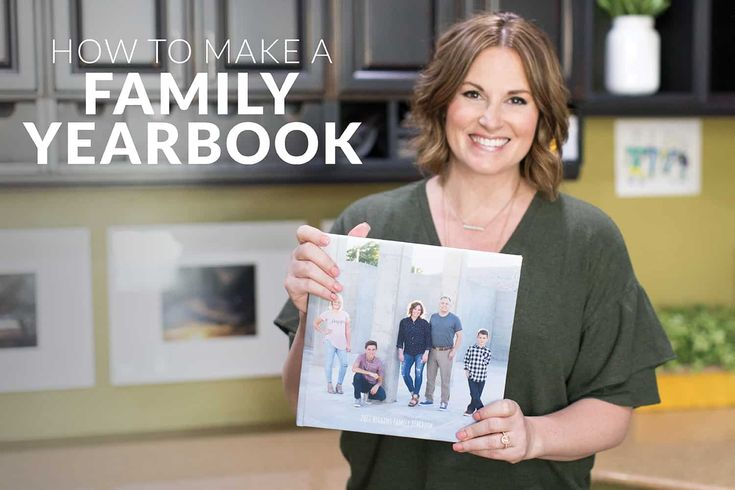 In this picture I'm holding one of my most valuable treasures — a 10″ x 10″ hard cover copy of our 2017 Higgins Family Yearbook. A book FULL of our memories! Get comfortable because I'm going to walk you through exactly how to make a family yearbook yourself! It's so so easy … and so …
