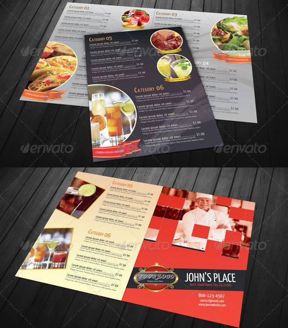 Bi-fold Restaurant Food Menu Template Bundle Menu Designs - food menu template