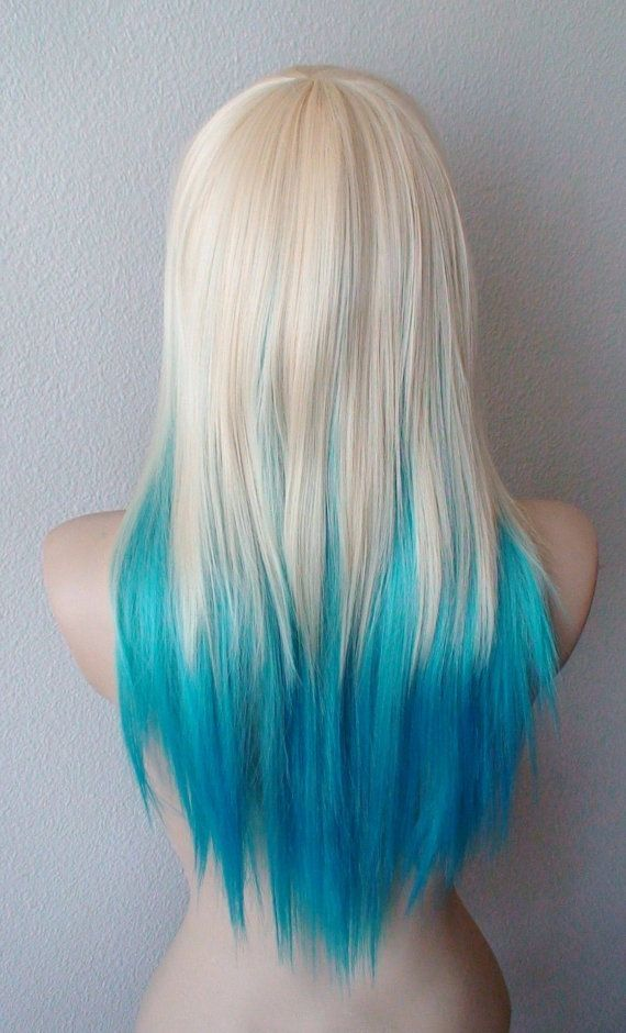 Blonde Teal Turquoise Ombre Wig Medium Layered By Kekeshop Hair Styles Blue Hair Dyed Hair