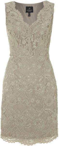 V Neck Lace Detail Dress - Lyst
