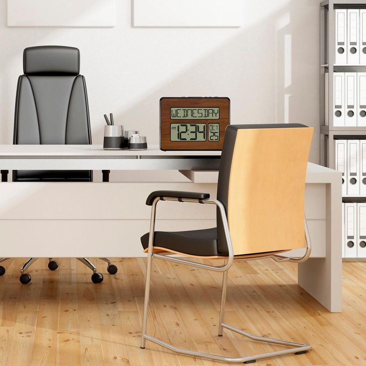 Backlight Atomic Full Calendar Digital Clock with Extra Large Digits in Walnut (Brown) finish