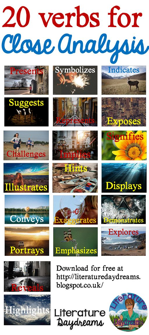 Free download of mini posters with 20 verbs to use in literary analysis