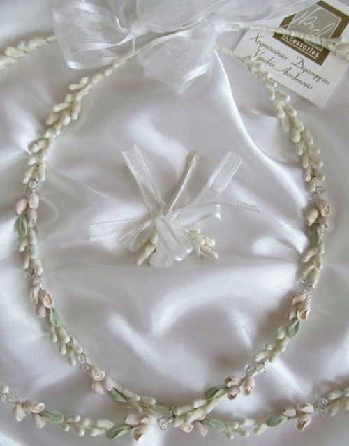 Pink Flowers and Greek Leaf Wedding Crowns with Diamante Detail