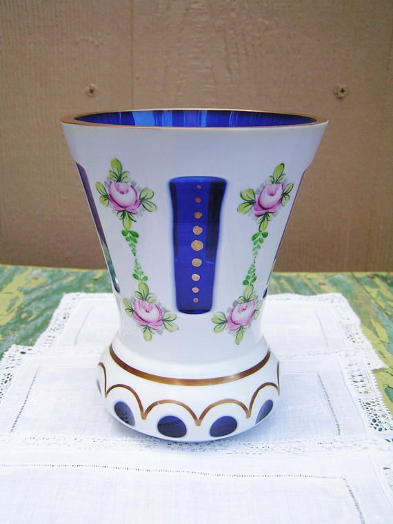Винтажный богемский чешский стеклянный вырез для кобальт синий ваза с ручной росписью розовая роза | Керамика и стекло, Стекло, Художественное стекло | eBay!