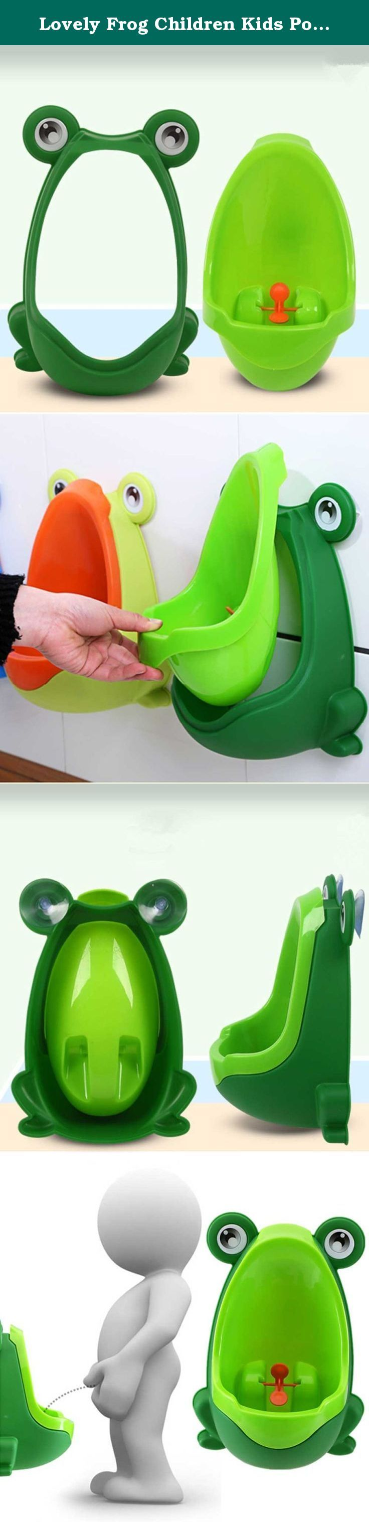 Lovely Frog Children Kids Potty Removable Toilet Training Kids Urinal Early Learning Boys Pee Trainer Bathroom (Deep Green). Description Environmentally friendly material, nontoxic and no peculiar smell. Urine groove separation design and light surface makes the item easy to clean. Lovely frog shape and rotating windmill improves your babies interest and trains they pee by themselves. Strong sucker can adjust the height of the item according to babies needs. Large capacity ensure the…