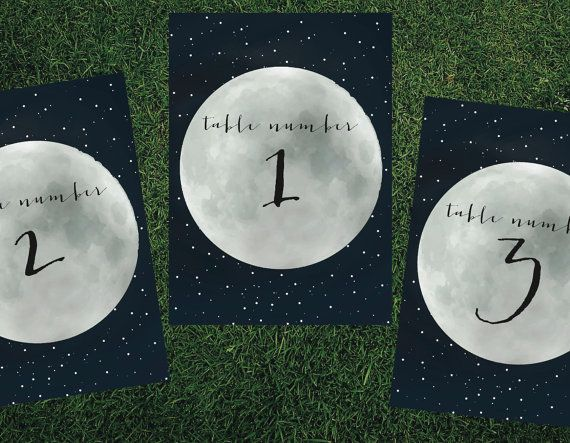 Constellation Lunar Moon Table Number // Printed by blacklabstudio, $2.00