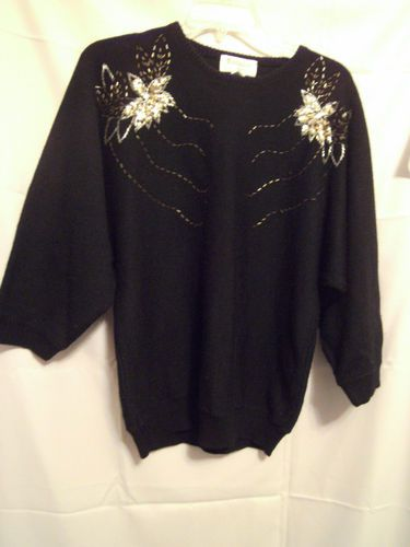 Exclusive Imports Long Dolman Sleeve Sweater Black Size