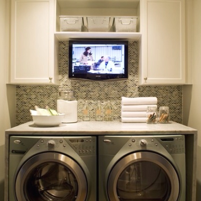 Laundry Area...install a counter top over the front-loading washer/dryer!
