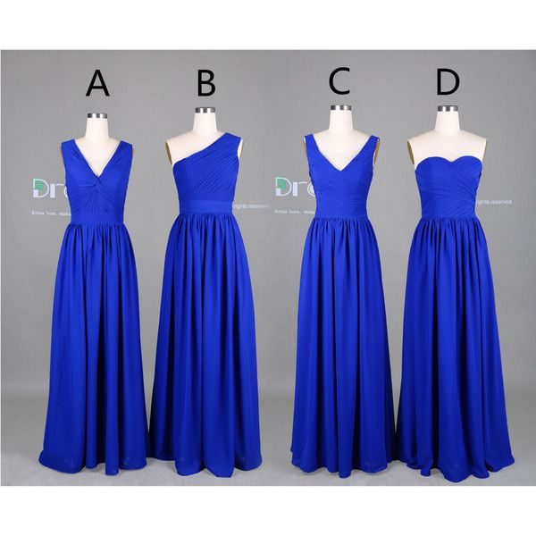New 2015 Custom Made Royal Blue Long Chiffon Bridesmaid Dress/Maid of... ($99) ❤ liked on Polyvore featuring dresses, blue chiffon dress, long bridesmaid dresses, electric blue bridesmaid dresses, maid of honor dresses and long maid of honor dresses