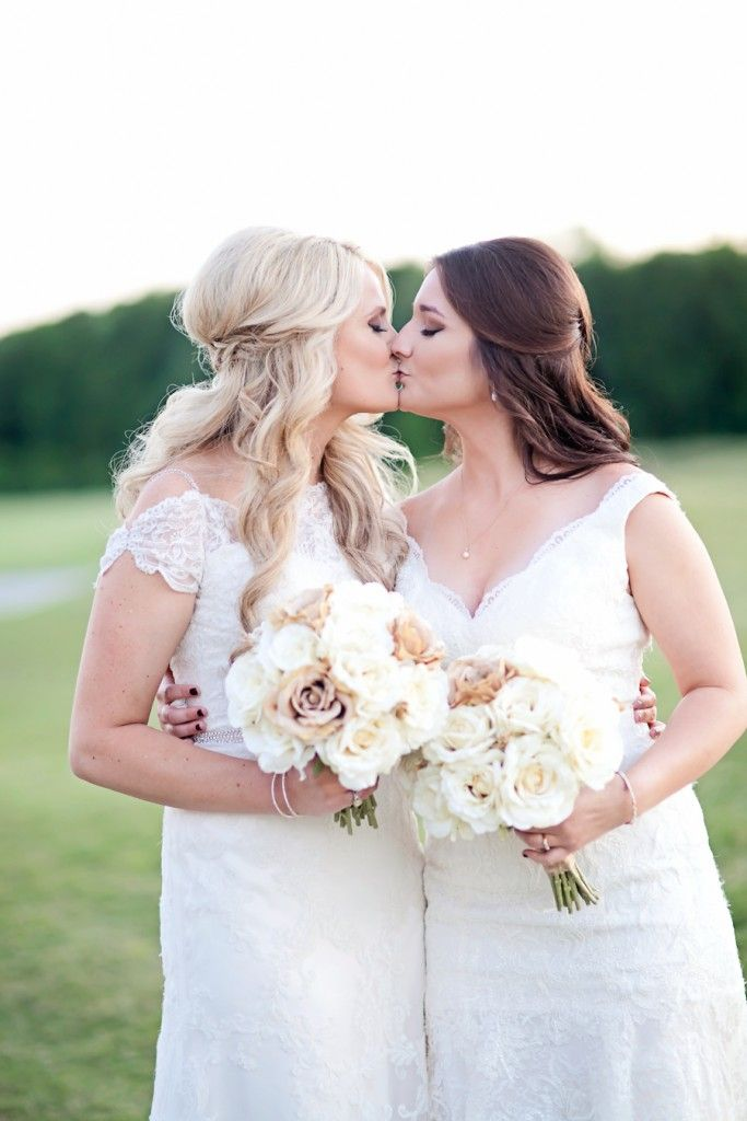 Lesbian wedding portrait | Two brides kissing | Louisiana Rustic DIY Wedding | Two Brides | Equally Wed - LGBTQ Weddings