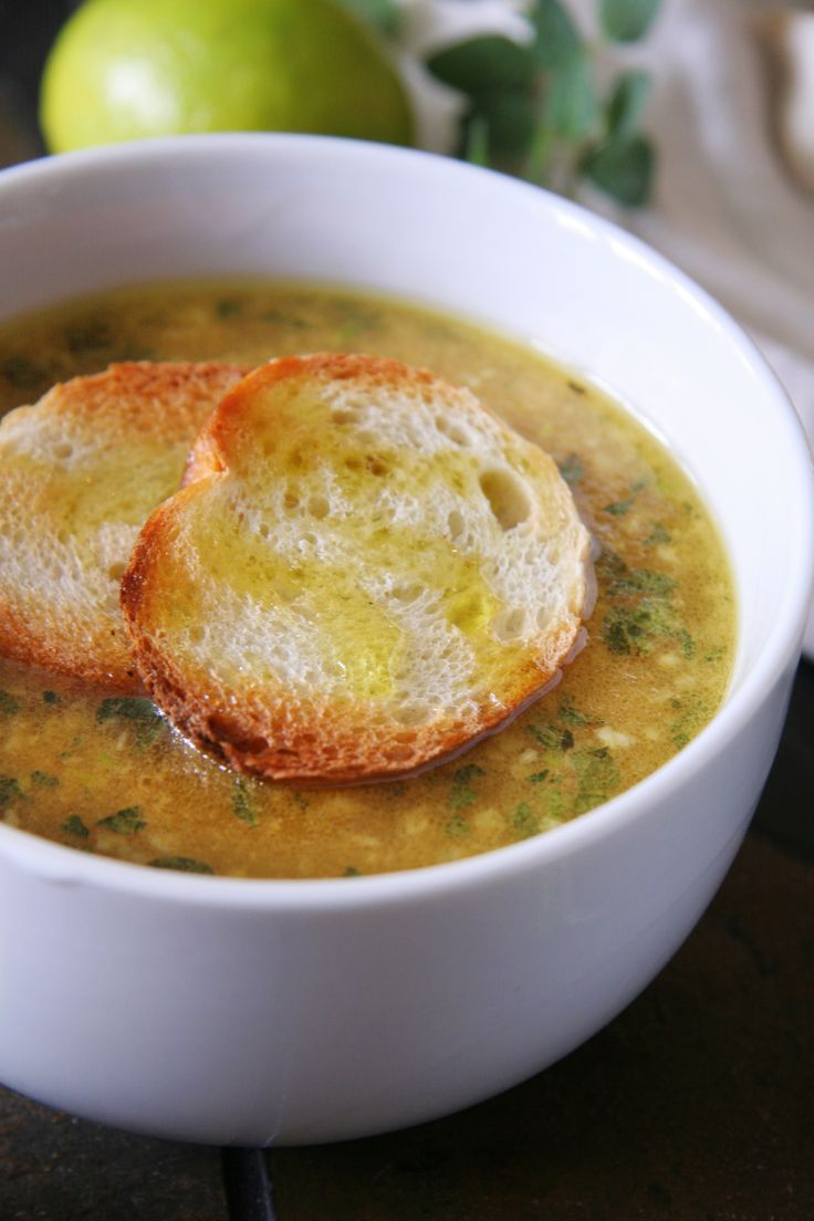 Mexican Garlic Soup with Oregano and Fresh Lime-just minus the bread and your good to go!