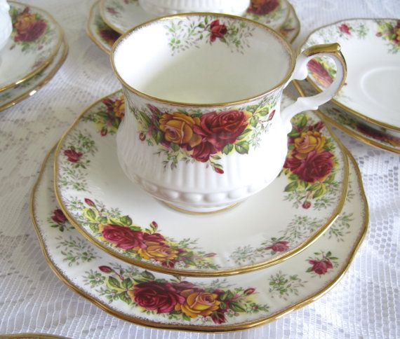 Vintage Tea Trio Queens China Stratford Pattern by TheWhistlingMan, £12.00